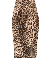 dolce & gabbana leopard-print wrap skirt - brown