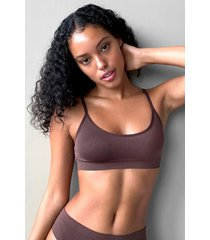 womens seamless nights scoop neck bralette - chocolate