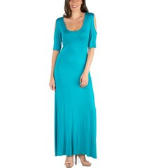 24seven comfort apparel half sleeve open shoulder maxi dress