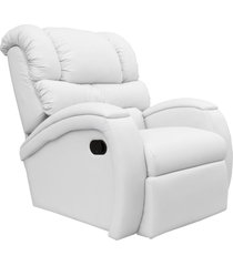 poltrona do papai reclinável giratória e balanço zero wall com gatilho oasis couro branco - gran belo