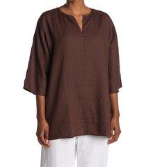 women's eileen fisher split neck dolman sleeve organic linen tunic, size small - beige