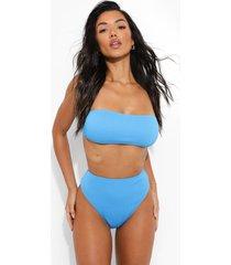 geribbelde strapless bikini top, blue
