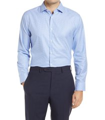 men's big & tall nordstrom trim fit non-iron basketweave dress shirt, size 18 - blue