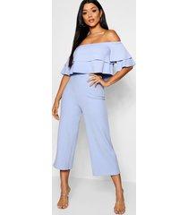 strapless top met 2 lagen en culotte set, korenblauw