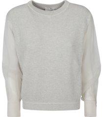 brunello cucinelli lace sleeve knitted sweatshirt