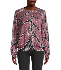 young fabulous & broke women's printed crewneck sweatshirt - soft plum - size s