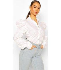 puff sleeve shirt, white