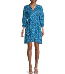 calvin klein women's floral puffed-sleeve dress - cerulean - size 2