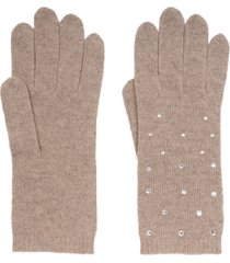 women's carolyn rowan accessories crystal embellished cashmere gloves, size one size - beige