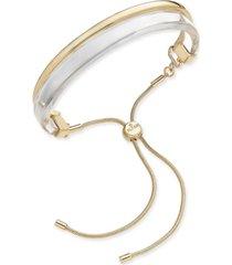 alfani two-tone curved bar bolo bracelet, created for macy's