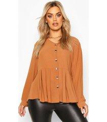 plus pleated button detail peplum shirt, chocolate
