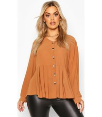 plus pleated button detail peplum shirt, chocolate