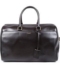 saint laurent 12-hour black leather duffle bag black sz: l