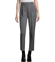 checked pleated pants