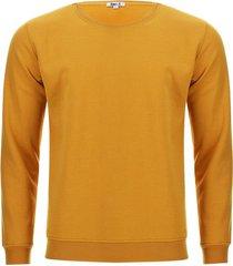 buzo cuello redondo unicolor color amarillo, talla xs