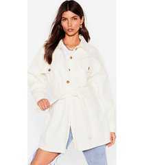 womens shirt-y little secret belted longline jacket - white