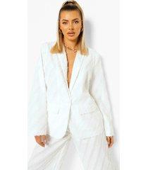 oversized blazer met textuur, ivory