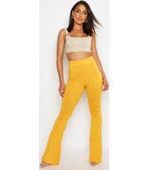 basic nauwsluitend skinny uitlopende broek met hoge taille, mosterd