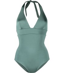 mc2 saint barth v-neck one-piece swimsuit - green