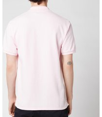 maison kitsuné men's navy fox patch polo shirt - light pink - s
