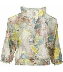 dept top - top dreamy flower - celadon green