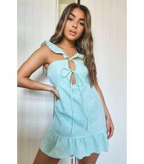 petite linen look tie front frill sleeve mini dress, mint