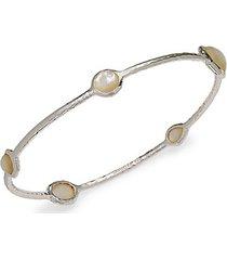 sterling silver & mother-of-pearl bangle bracelet