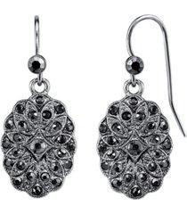 2028 silver-tone hematite crystal oval drop earrings
