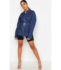 belted denim shirt, mid blue