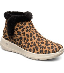 womens on-the-go joy - snow kitty shoes boots ankle boots ankle boot - flat brun skechers