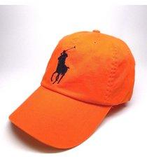 new men's polo ralph lauren big pony orange leather strap sport baseball hat cap