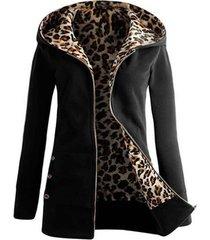 leopard print buttons zip up hoodie