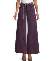 ganni women's belted wide-leg flare jeans - port royal - size 27 (4)
