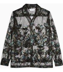 mens black sheer floral slim shirt