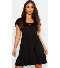 jersey babydoll jurk met geplooide zoom, black