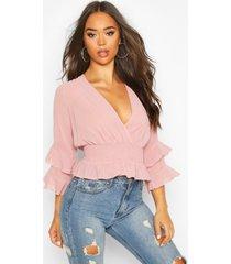 woven chiffon ruffle detail blouse, blush