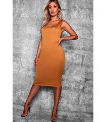plus longline square neck midi dress, mustard