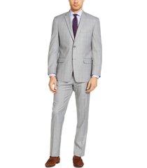 marc new york by andrew marc men's modern-fit light gray & lavender windowpane suit