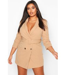 plus double breasted gold button blazer dress, stone