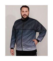 jaqueta plus size esportiva ace estampada degradê com bolsos e vivo contrastante gola alta cinza
