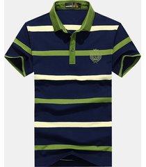 camicia da golf casual in cotone a maniche corte con colletto alla rovescia stampato manica lunga da uomo