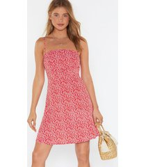 womens floral square neck mini dress - red