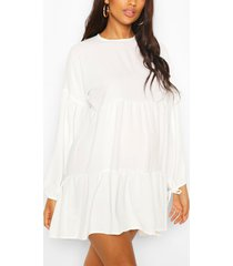 maternity tiered tie sleeve smock dress, ivory