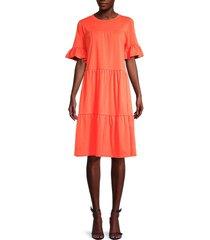 lea & viola women's tiered cotton dress - coral - size s