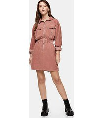 considered pink corduroy long sleeve zip shirt dress with recycled cotton - pink