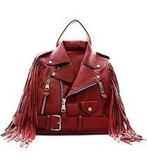 vegan faux leather fringe jacket satchel shoulder handbag (burgundy)