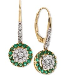 certified ruby (5/8 ct. t.w.) & diamond (3/8 ct. t.w.) drop earrings in 14k gold (also available in sapphire & emerald)