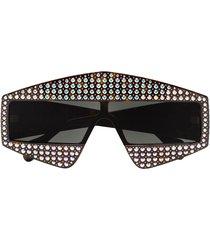 gucci eyewear crystal tortoiseshell rectangular-frame sunglasses -