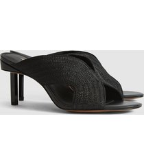 reiss cassandra - braid front heeled mules in black, womens, size 10