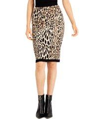 bar iii animal-print jacquard sweater skirt, created for macy's
